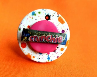 Handmade Button Ring, Miniature Food, Crunchie Chocolate, Candy Bar, Adjustable Ring, Statement Jewellery, Unique Fashion, Pink, Festival