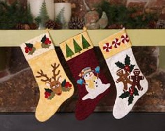 Stockings were Hung Trio Baltimore Christmas Fusible- Laser Cut Quilt Kit