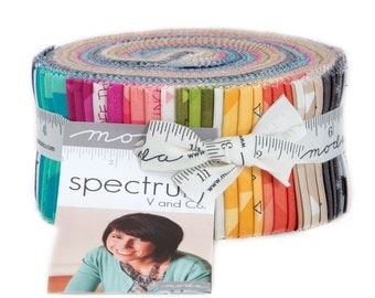 Moda Spectrum V an Co Pink Turqouise Teal Lime Tan Coral Jelly Roll 42 Fabric 2.5 inch Strips