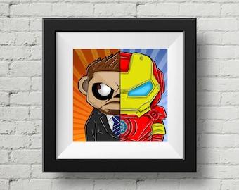 Marvel, Iron Man, Tony Stark, Digital Illustration, Print, Art Poster, Comic, Home Wall Art Decor, Birthday Gift, Christmas Gift