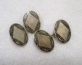 Antique Victorian Cuff Links / Sterling Silver Cufflinks / Double Sided Cuff Links / Linked Cuff Links