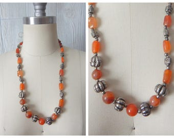 need for bead | Vintage 60s 70s Silver Tone Metal Bead and Orange Simulated Amber Glass Stone Necklace
