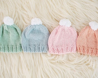 Custom Colors Newborn Baby Beanie Hat | Knit Baby Beanie | Baby Beanie with Pom Pom | Knit Baby Hat | Knit Newborn Hat | Baby Girl Beanie