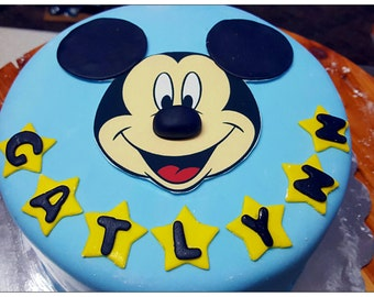 Edible Mickey Mouse Clubhouse cake topper and name