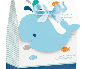 72 Blue Whale Little Boy Baby Shower Small Favor Bags with Ribbons  ~ Great Value!