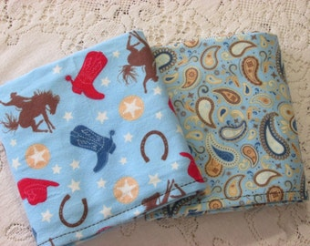 Cowboy Set of 2 Receiving Blankets - Blue Tan Red & Brown Hat Boots - Wild West - Star Horseshoes - Paisley - Rodeo - Horses - Baby Gift