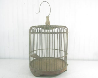 Antique Birdcage, Wood Birdcage, wedding birdcage, vintage birdcage, vintage birdcage, wood cage, garden decor, cottage decor