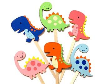 Multicolor Dinosaur Cupcake Toppers Set of 12 / Dinosaur Baby Shower Paper Gender Neutral Dinosaur Party Brachiosaurus T-Rex Cupcake Topper