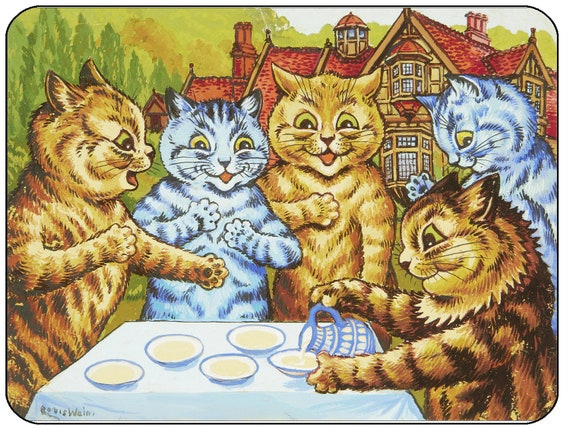 Louis Wain Garden Party Cats Mouse Mat Mouse Pad
