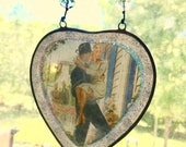 Just Married Ornament - Wedding Gift, Glass Window Decor