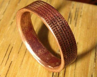 Rustic Cross Hatch Copper Ring