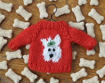 Knitting Pattern For Westie Dog : Westie sweater Etsy