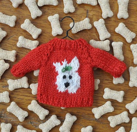 West Highland Terrier Hand-Knit Sweater Ornament Scottie Ornament