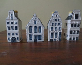 Set of 4 KLM Delft Houses , Bols , Decanters, Numbers 42,49,53,61
