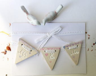 Ceramic Mr & Mrs Bunting - wedding decor - hanging - wedding day decor - I Do Decor - wedding reception - place setting groom and bride