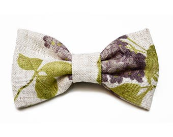 Craft, floral, linen bow ties, fantasy, green, purple, hand-stitched, made in Italy, accessories, wedding, special occasion