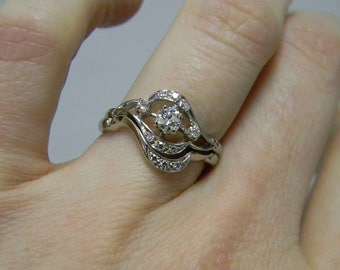 Antique 18k White Gold Diamond Wedding Set Engagement Ring Wedding Band Vintage Estate
