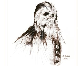 Chewbacca wall art print 11x14 Star Wars