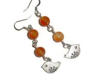 Bird Earrings Short Earrings Silver Earrings Carnelian Earrings Gemstone Earrings Spring Earrings casual earrings everyday earrings
