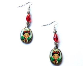 Frida Kahlo earrings, red crystal