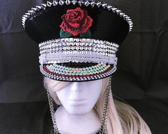 Sequin Rose Burning Man Hat, Playa Hat, Captains Hat, Festival Hat, Marching Band Hat, Burning Man, Burner Fashion, Desert Hearts