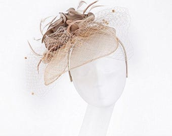 Janeo Cecelia Fascinator, Voluminous Swirls Bows & Roses in Satin fabric on a wide Brim Sinamay Fabric Contoured Base, Net Veil - Champagne