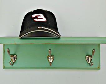 Wall Coat Rack-Shelf, Wood Coat Rack, Distressed Finish, Shelf with Hooks, Soft Turquoise(more green) Color, 3 Beefy Silver Hooks, Many Uses