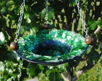 Birdbath or Feeder Blue and Green