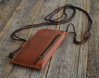 Nokia 6 5 3 Leather Mini Messenger Bag Wallet. Organizer with Zippers and Pockets. Purse Includes Neck Strap. Cover Sleeve Pouch