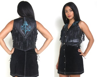 Vintage 80s Black Leather Blue Suede Rose Cropped Vest Fringe Lace Up Braided Trim Motorcycle Moto Biker