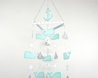 Handmade Baby Mobile, Whale Mobile, Whale Nursery, Nautical Nursery, Nursery Mobile, Baby Shower, Nursery Decor