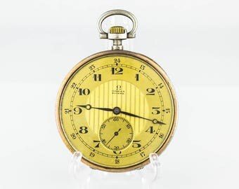 Antique Silver Omega Swiss Pocket Watch Gold Dial