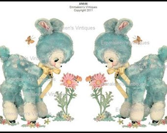 Vintage Extra Large Shabby Nursery Blue Baby Deer Fawn Waterslide Decals~AN646