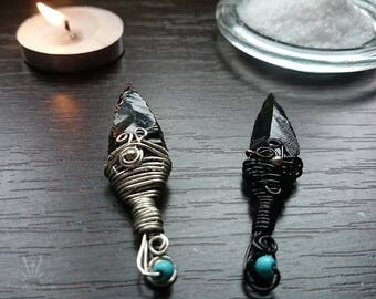 Obsidian blade athame, Miniature athame, ritual knife, black handle obsidian knife, handmade jewelry, wirewrapped pendant, Wicca ritual tool