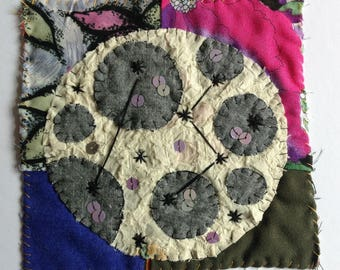 Moon. Textile art. Wall art. Wall hanging. Fiber art quilt. Original appliqué and embroidery on vintage patchwork quilt