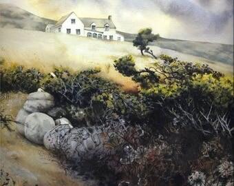 "Gorse, Pembrokeshire coast path | Fine art print | Print of watercolour painting | 7.5"" x 10.5"" | Welsh landscape | Pwll Deri Youth Hostel."
