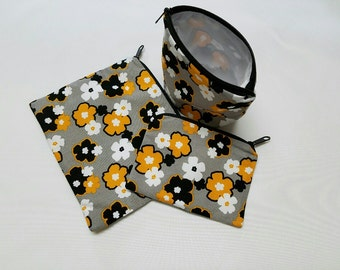 Reusable Sandwich Bag Set,Flowers, Gold,Black,Daisy,Washable, Gadget Bags,Lunch Baggies, Make-Up Bags, Nylon Lining, Zipper Closure.