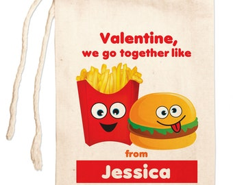 Kids Valentines Day Favor Bags, Personalized Valentines Favors, Custom Valentines Day Gift Bag, Personalized Valentines Party Favor Bags