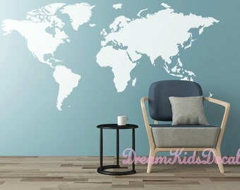 World Map Decal, Map Decal Office Decor, World Map Decals, Wall Decal