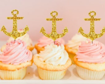 anchors - gliltter cupcake toppers - wedding decorations - baby shower decorations - ships in 1-3 business days