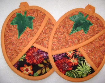 Pumpkin Potholders, Thankgiving Oven Mitts, Pocket Potholders, Pot Holders, Autumn, Fall Kitchen