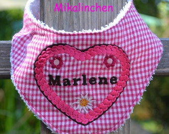 Baby neckerchief pink squared cotton