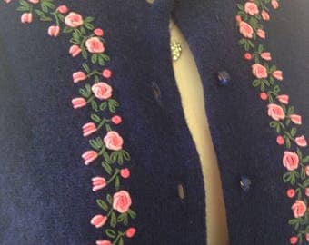 Ladies Vintage Pinup Button Front Cardigan Embroidered Roses size 36