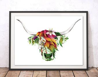 Floral Highland Cow Print, Flowers Highland Coo Art Print, Beautiful Scottish Cow Illustration, Floral Cow Framed Wall Art by Kat Baxter