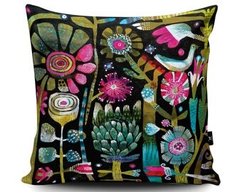White Bird Cushion, Abstract Contemporary Floral Cushion, Modern Pillow, Colourful Cushion, Tropical Summer Gift by Este MacLeod