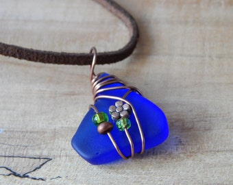 Eco Friendly Tumbled Glass Pendant Necklace, Blue Pendant, Wire Wrapped Jewelry, Recycled Glass Necklace for Women, Gift Idea under 20