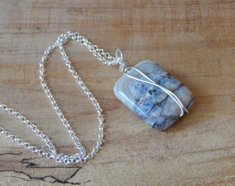 Laguna Lace Agate, Pendant Necklace, Modern Wrapped Stone Pendant, Stone Necklace for Women, Sterling Silver Wrapped, Gift for Women