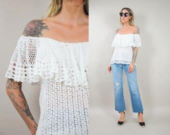 70's Crochet Off Shoulder Blouse