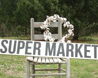Super Market Sign, 8x48, Farmhouse Kitchen Decor, Rustic Wall Decor, Hand painted