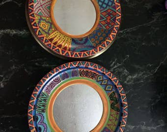 """Hand Painted Bohemian Two Round Accent Mirrors  For Home or Office 10""""W,9.5W  M0036"""